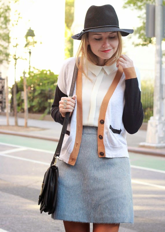 The Steele Maiden: Textured mini skirt and colorblock cardigan