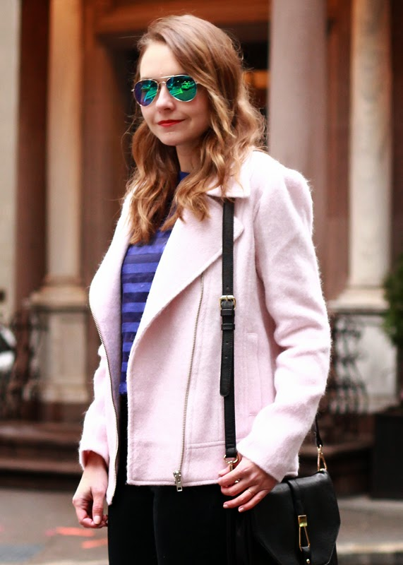 The Steele Maiden: Downtown New York in Piperlime Moto Jacket and Floral Heels