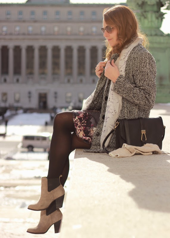 The Steele Maiden: Columbia University wearing tweed jacket and floral skirt