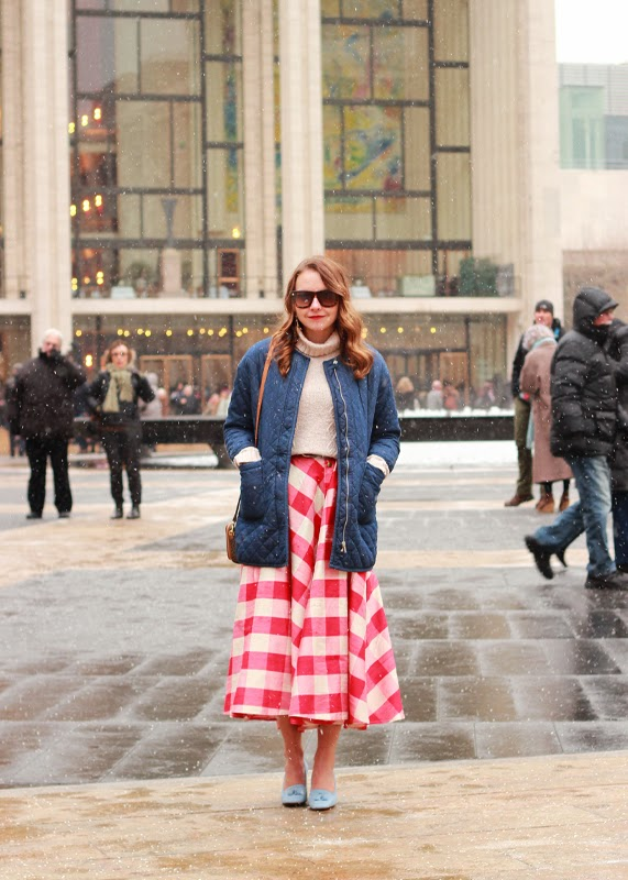 The Steele Maiden: NYFW Day 3 Gingham midi skirt and Talbots suede loafer heels