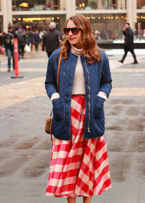 NYFW_day3_red_gingham_skirt_denim_cocoon_jacket_blue_suede_loafer_heels_7.jpg