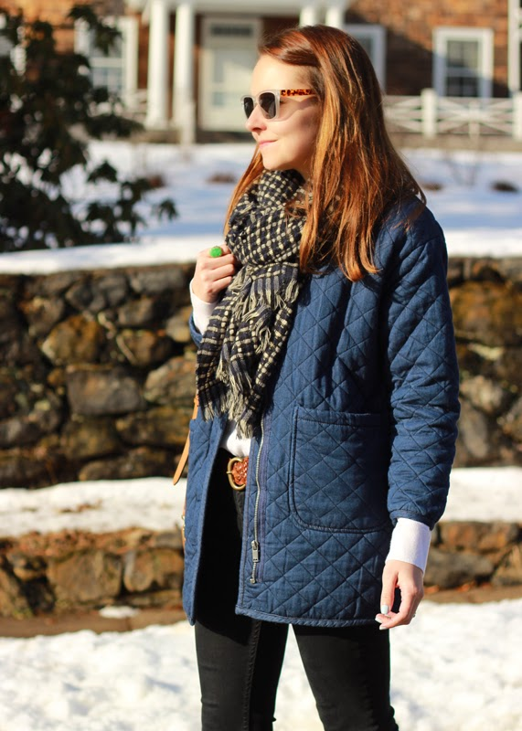 The Steele Maiden: Winter weekend in denim quilted coat and Sole Society scarf