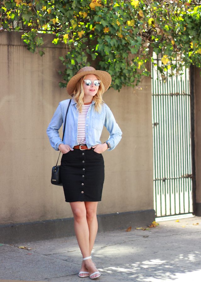 denim_button_front_skirt_chambray_straw_wide_brim_hat_3