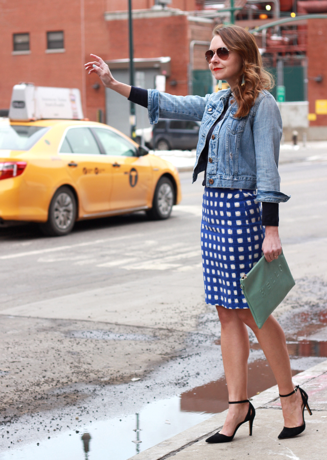 NYC-yellow-cab-topshop-gingham-skirt-sole-society-heels-denim-jacket
