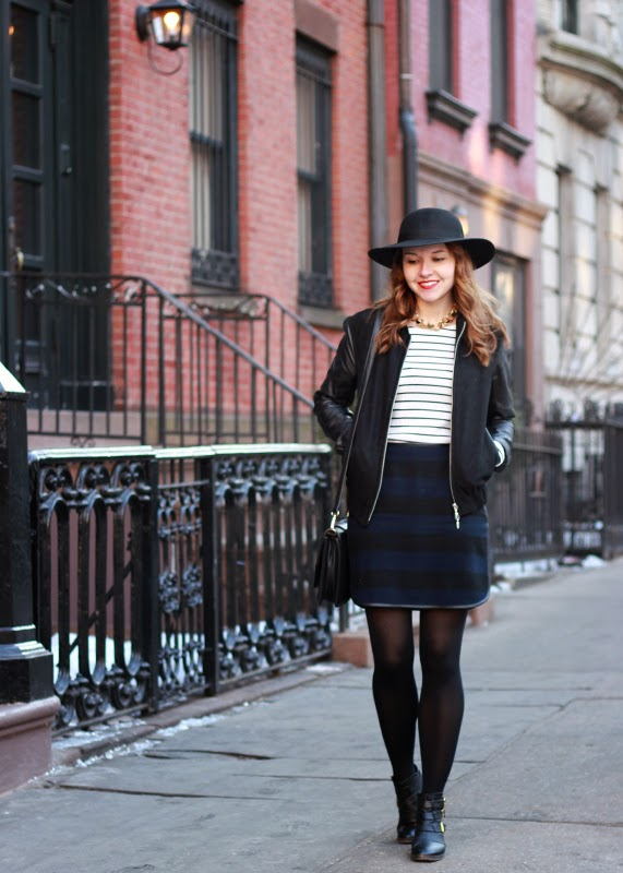 The Steele Maiden: Mixed Stripes and Sole Society Hat