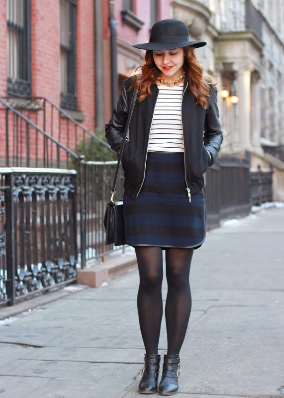 Stripes_skirt_tee_leather_jacket_sole_society_hat_6