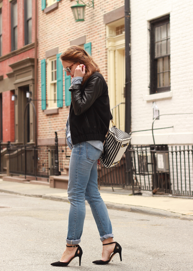 distressed_denim_leather_bomber_jacket_sole_society_suede_heels_striped_bag