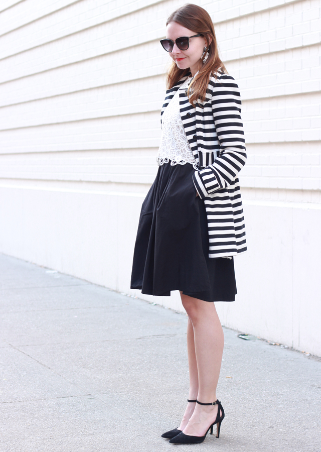 The Steele Maiden: Full Skirt black and white striped jacket