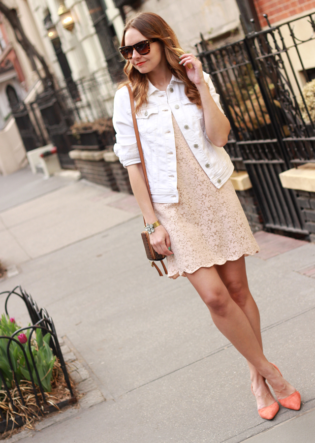 The Steele Maiden: Nude lace scalloped dress with Old Navy white denim jacket