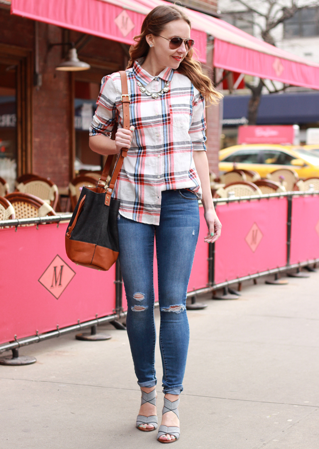 The Steele Maiden: Old Navy Plaid Boyfriend Shirt and Distressed denim with Sole Society striped sandals