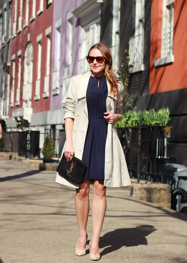 The Steele Maiden: One Point Six Dress with Ted Baker Trench Coat Vintage YSL Clutch