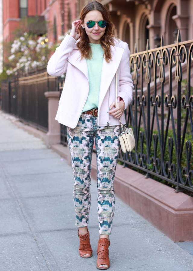 The Steele Maiden: Pastel Pink Jacket and Printed Jeans