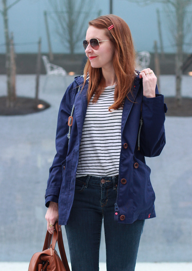 The Steele Maiden: Rainy Day Style in denim, stripes and Joules waterproof rain jacket