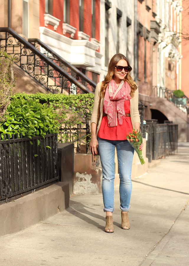The Steele Maiden: Spring scarf, distressed denim and cutout booties