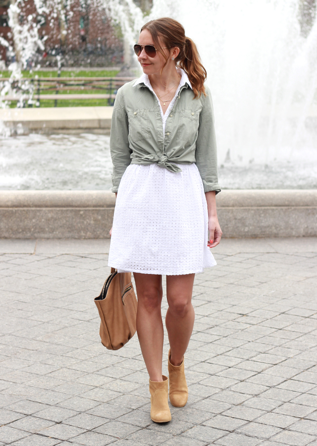 The Steele Maiden: Old Navy Eyelet Shirtdress and Sole Society Suede Booties