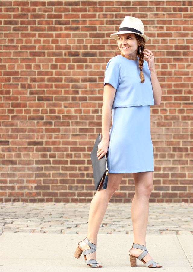 The Steele Maiden: Blue Double Layer Dress with Sole Society Striped Sandals and Straw Fedora