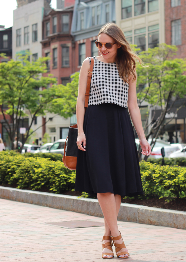 The Steele Maiden: Newbury Street, Boston wearing French Connection Midi Skirt and Restricted Sandals
