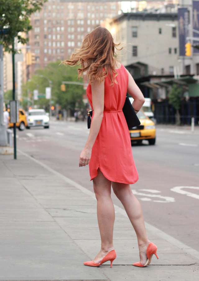 The Steele Maiden: NYC street style wearing LOFT red shirttail dress