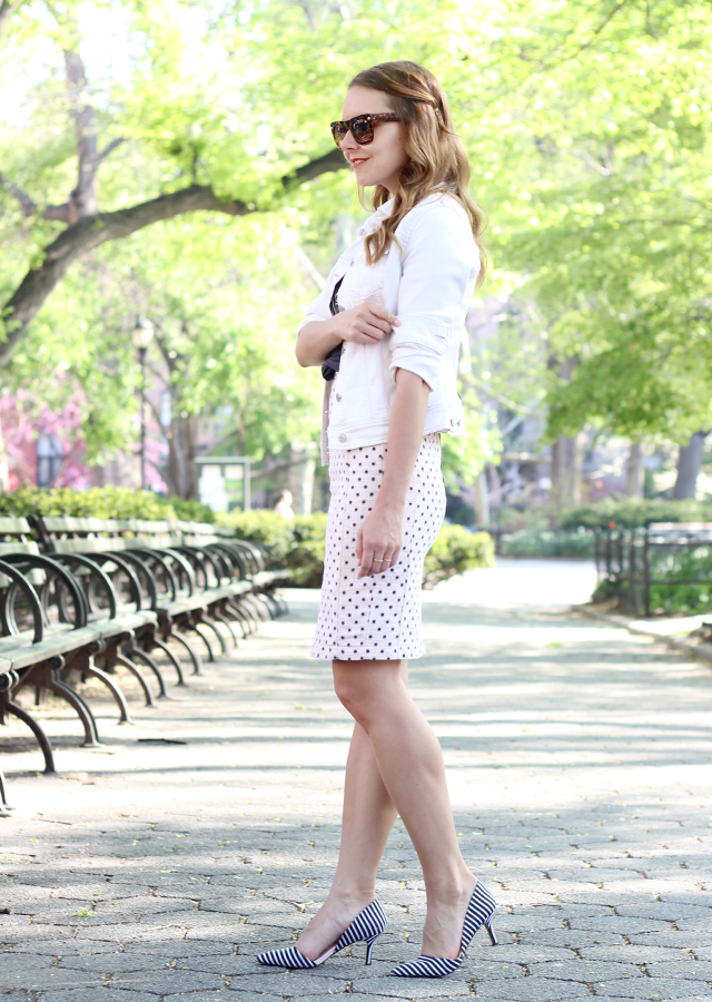 The Steele Maiden: Wearing white for Spring in Old Navy denim jacket and dotted pencil skirt