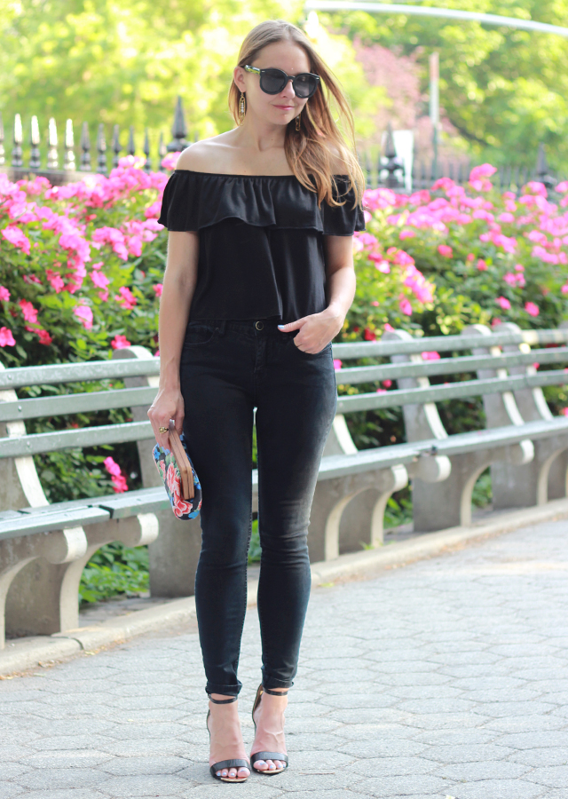 The Steele Maiden: Nordstrom off the shoulder top, black skinny jeans and Sole Society floral clutch