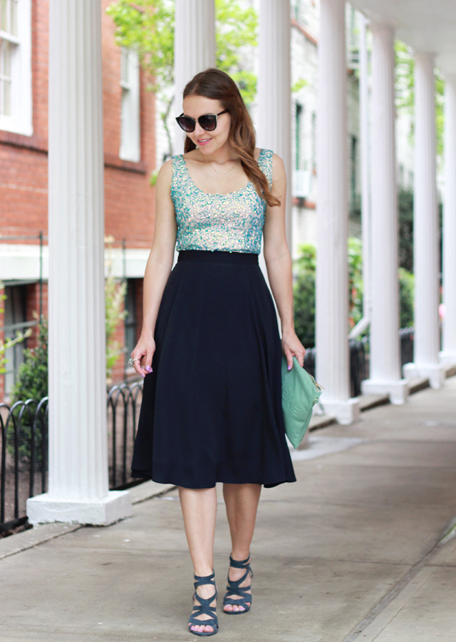 The Steele Maiden: Wedding Season style with French Connection wearing a sequin top, midi skirt and navy suede sandals