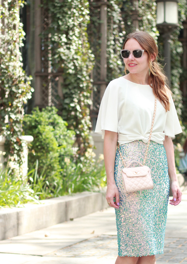 The Steele Maiden: Wedding Season Style with French Connection wearing sequin skirt and flutter sleeve top