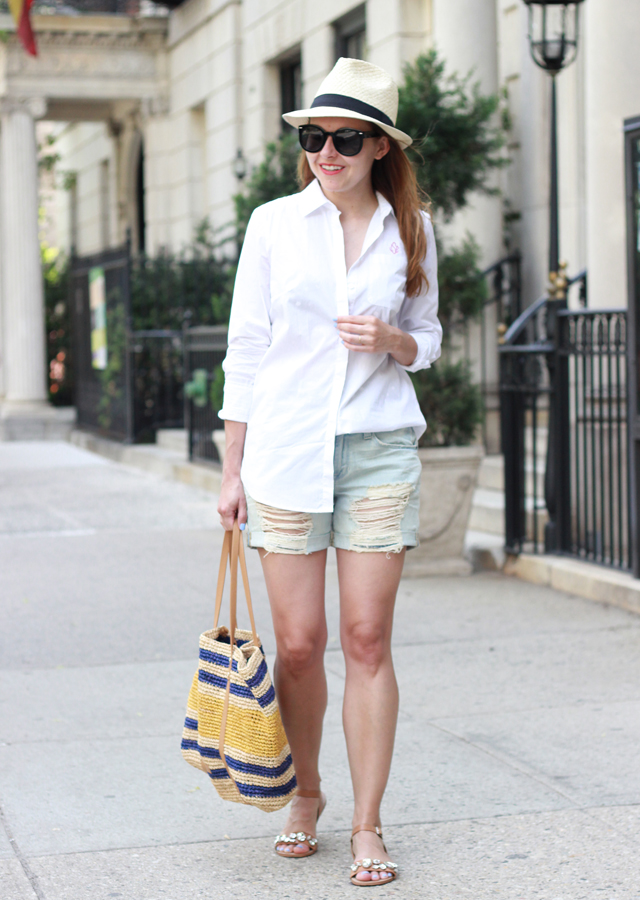 The Steele Maiden: Summer NYC wearing Nordstrom distressed jeans shorts, Talbots white oxford shirt and Elaine Turner striped straw tote