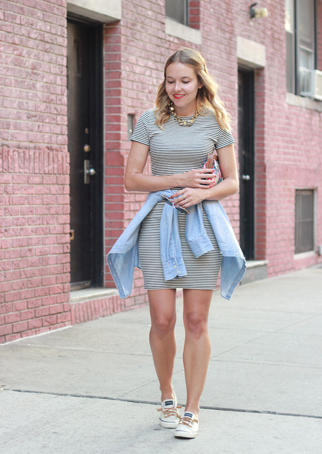 STRIPED T-SHIRT DRESS AND SNEAKERS