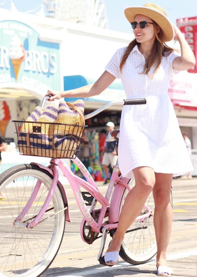 The Steele Maiden: pink bike on the OCNJ boardwalk wearing Old Navy white eyelet shirtdress, striped flats and panama hat