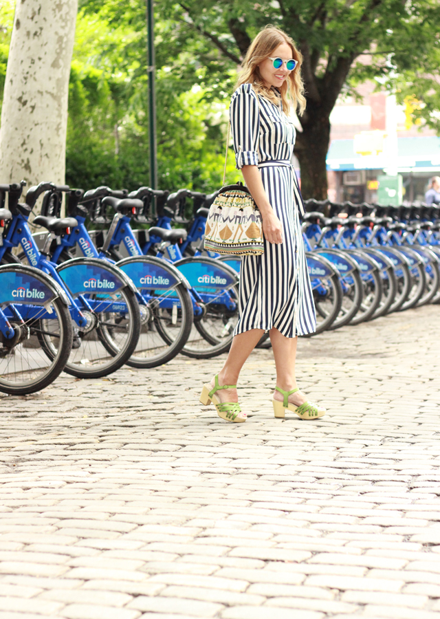 The Steele Maiden: wearing Oasis Striped Shirtdress in NYC West Village