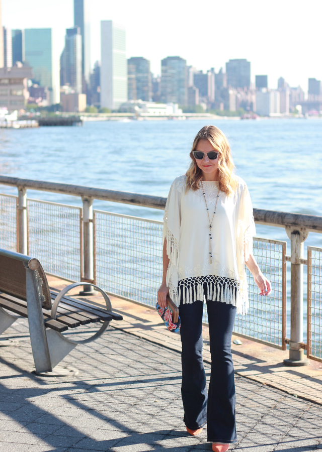 Seventies style in French Connection fringe top and flare leg jeans