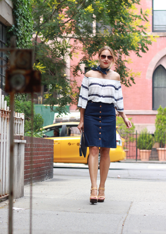 Seventies style - ASOS denim skirt and off the shoulder top