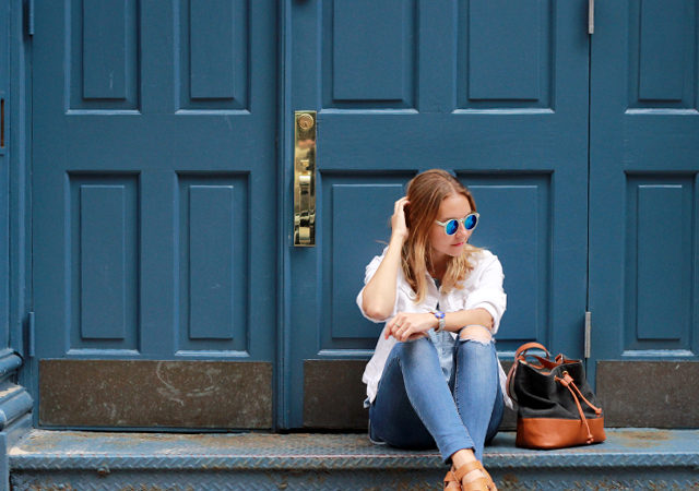 Denim on Denim: Old Navy white denim jacket, Loft chambray shirt and ripped skinny jeans