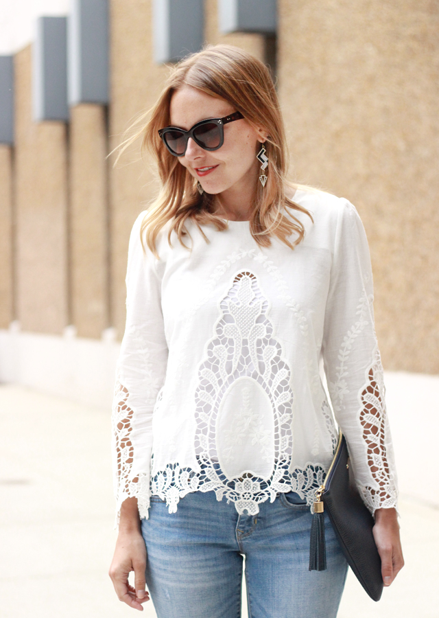 The Steele Maiden: white lace top, boyfriend jeans and Sole Society sandals