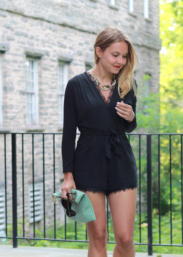 Date Night Look wearing Black lace romper and Sole Society Wedges