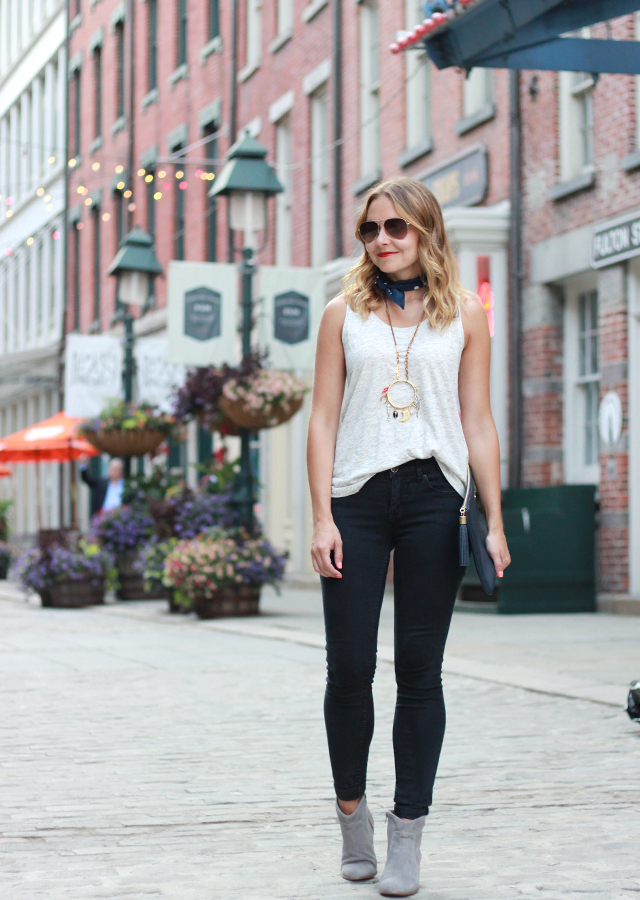 Sole Society Romy Booties and Black Skinny Jeans at NYC South Street Seaport
