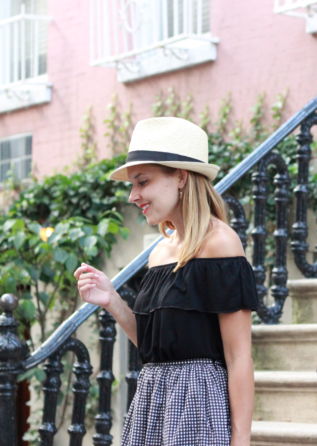 Summer outfit ideas: Topshop Off the Shoulder top, gingham skirt and Straw Hat