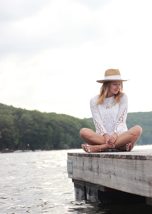 White cutout top and white denim shorts, lakeside weekend getaway
