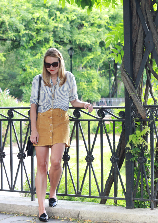 Central Park NYC wearing Urban Outfitters button front mini skirt and patent loafers