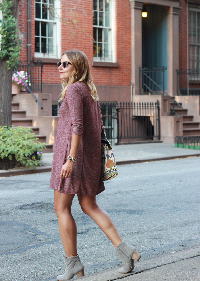 Meatpacking District NYC wearing Swing dress and suede ankle booties