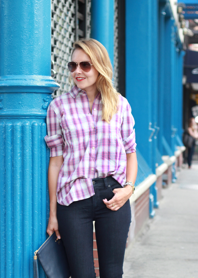 Talbots Flawless 5 Pocket Denim and Madewell Plaid Boyfriend Shirt