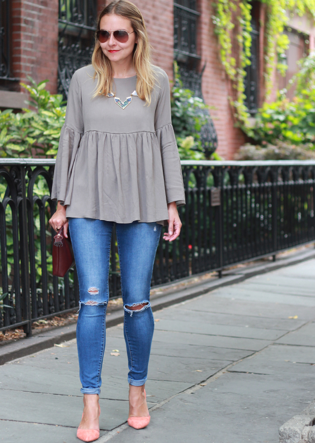 Bell sleeve top with ripped denim