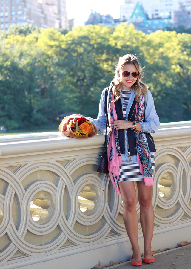 NYC Central Park Bow Bridge wearing Talbots quilted vest and scarf