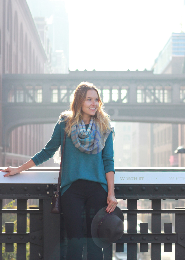 NYC The High Line wearing Talbots fall plaid blanket scarf and riding pants
