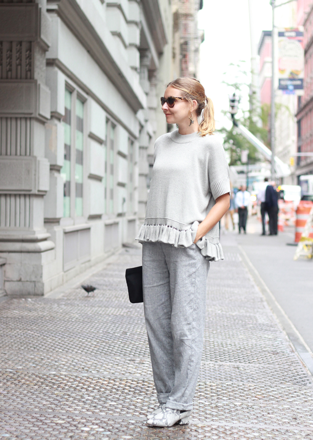 NYFW street style - monochrome grey in French Connection sweater and snakeskin boots