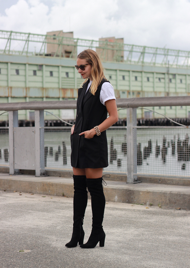 NYFW Street Style - OTK boots and vest dress