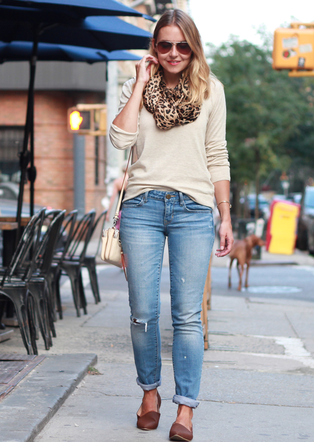 NYC East Village in boyfriend jeans and leopard scarf
