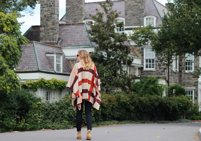 NYC Wave Hill wearing Talbots Fall favorites in plaid poncho and suede booties