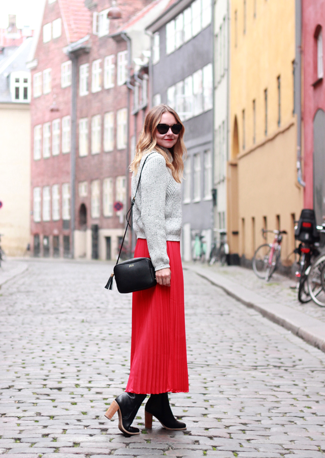 Copenhagen, Denmark: Red pleated maxi skirt and cropped sweater with Sole Society stacked heel booties