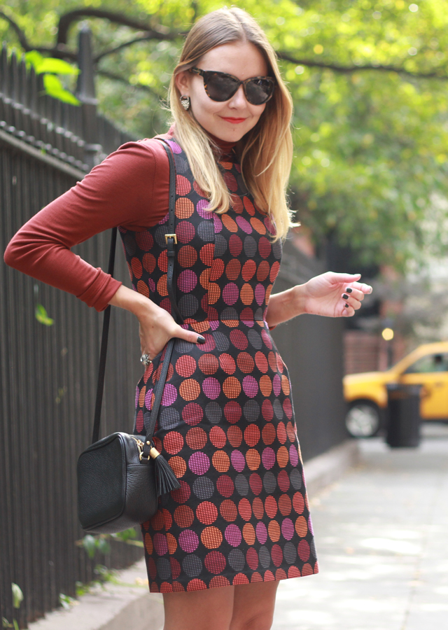 Colorful Fall layers in Anthropologie turtleneck and dotted dress